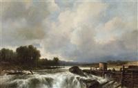 paysage avec cascade by jacob jacobs