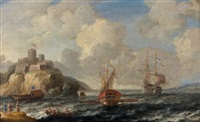 navires hollandais aux abords de candie by bonaventura peeters the elder