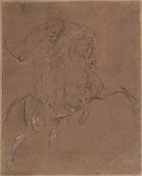 dessin préparatoire pour le portrait équestre de m. d. dit aussi un hussard chargeant by théodore géricault