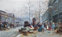 les halles de paris by eugène galien-laloue