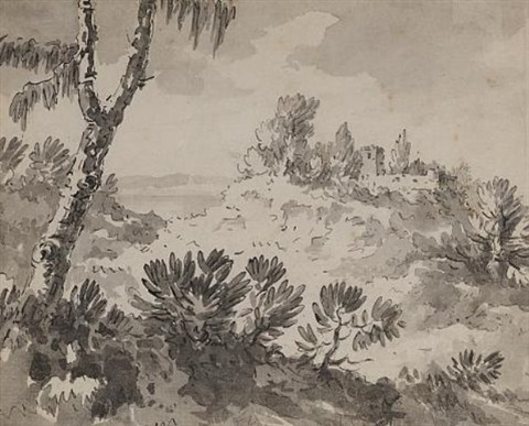 a landscape composition together with 2 letters from cp barbier by william rev gilpin