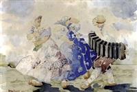 scène folklorique à l'accordéon by georges popoff