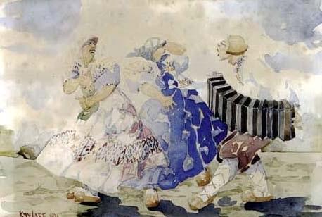 scène folklorique à laccordéon by georges popoff