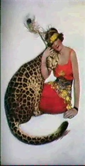 seated woman with leopard by sarah s. stilwell weber