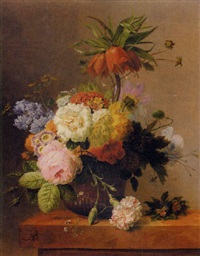 still-life with assorted flowers by arnoldus bloemers
