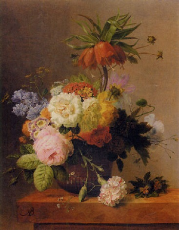 still life with assorted flowers by arnoldus bloemers
