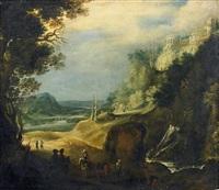 flusslandschaft mit wasserfall by gillis (egidius i) peeters