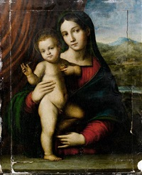 the madonna and child before a red curtain, a view to a landscape beyond by giacomo francia
