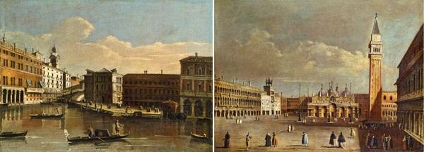 il ponte di rialto con il palazzo dei camerlenghi (+ piazza san marco verso la basilica; pair) by francesco tironi