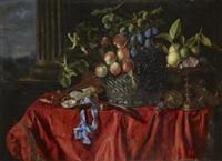 stilleben med frukter, pokaler, instrument och silverkorg by jean-michel picart