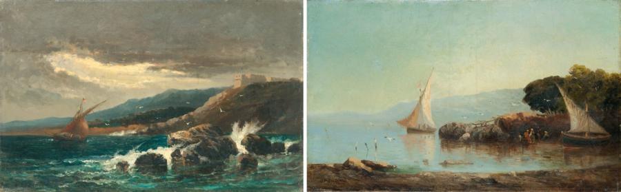 orage sur la côte le retour des pêcheurs pair by joseph benoit guichard