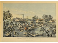high water in the mississippi by currier & ives (publishers)
