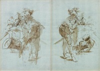 personnages (studies, recto/verso) by antonio raggi