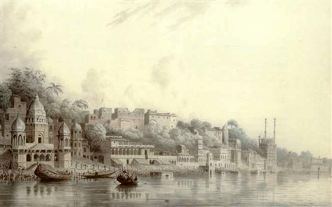 benares on the river ganges by hubert cornish