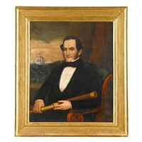 portrait of a sea captain of new bedford, ma, circa 1847 by joseph whiting stock