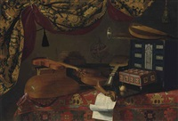 still life with musical instruments by evaristo baschenis