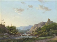 travellers resting by a river at dusk by marinus adrianus koekkoek the elder