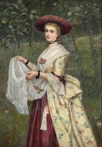 jeune femme cueillant des pommes by charles sillem lidderdale