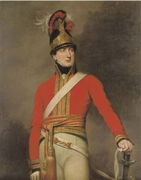 portrait of an officer of the 1st king's dragoon guards wearing the regiment's waterloo helmet by george dawe