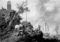 paysage de bord de mer, animé d'un groupe de personnages et de chevaux au repos by olivier le may