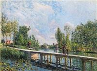 la passerelle - chemin de halage du canal du loing by alfred sisley