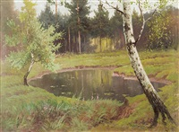 small lake in the woods by józef rapacki
