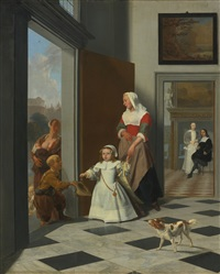 a child and nurse in the foyer of an elegant townhouse, the parents beyond by jacob ochtervelt