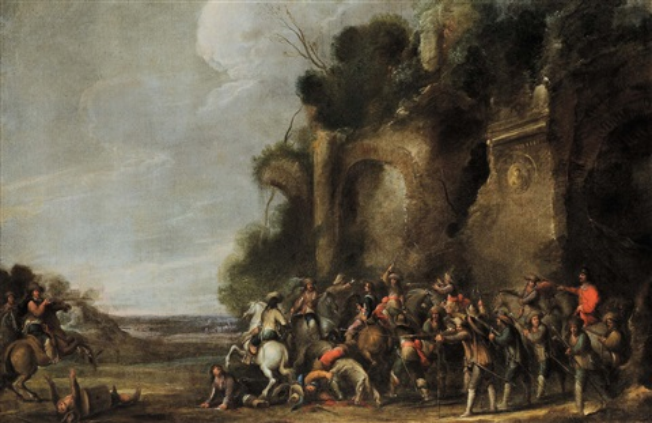 battaglia con cavalieri e personaggi battaglia con cavalieri e architetture pair by cornelis de wael