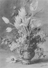 cornflowers, tulips and pansies in a jug by theresa maria hegg