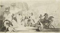 projet d'illustration: un char et des divinités antiques (+ deux scènes mythologiques, verso) by charles nicolas cochin the younger