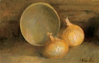 still life with onions and bowl by julian alden weir