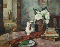 still life - interior with jug and vase of flowers by bessie ellen davidson
