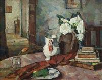 still life - interior with jug and vase of flowers by bessie ellen davidson