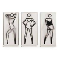 1. shahnoza dancing naked, 2. shahnoza dancing in white dress, 3. sara dancihg in sparkly top (3 works) by julian opie