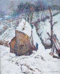 ferme en montagne sous la neige by victor charreton