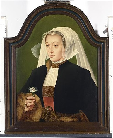 a portrait of a lady wearing a red dress white chemise a black fur lined coat and a white headdress holding a carnation by bartholomäus barthel bruyn the younger