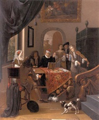 a music party in an elegant interior, seen past a trompe l'oeil curtain by hendrik carre