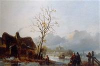 peasants conversing on a frozen river by a farm by frans arnold breuhaus de groot