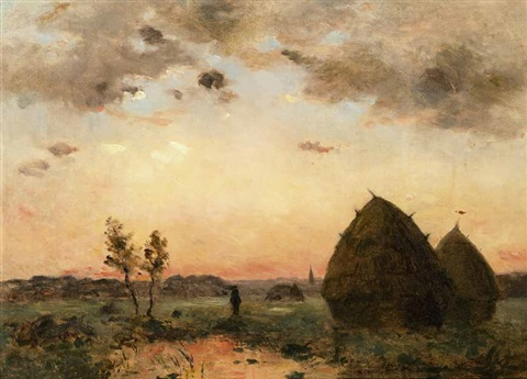 soleil couchant á barbizon by charles françois daubigny