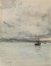 thunder storm, coast of spain by childe hassam