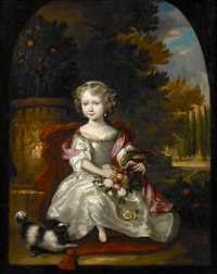 a portrait of a girl with a bouquet of flowers and a parrot resting on her arm by aleijda wolfsen
