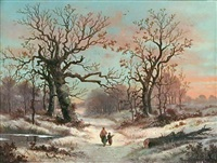 promenade hivernale by marinus adrianus koekkoek the elder
