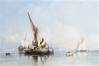 shipping on an estuary (pair) by alfred herbert