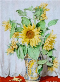 still life of sunflowers in a decorative vase by john macdonald aiken