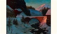 pont enneigé by piotr livoff ivanovitch