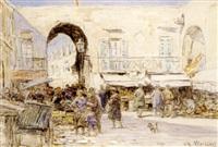 jour de marché sur le cours saleya by charles louis auguste weisser