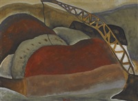 cinder barge and derrick by arthur dove