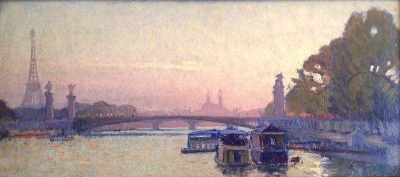 vue de la tour eiffel quai de seine et pont de paris by charles victor guilloux
