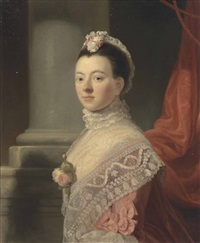 portrait of anne, lady north (c.1740-1797), wife of frederick north, 2nd baron north, three-quarter-length, in a pink dress and lace shawl with roses at her décolletage, and a lace head-dress, by a column by ramsay richard reinagle