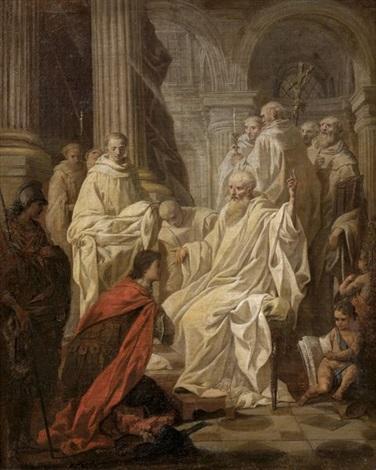 saint benoît déjoue la ruse du roi des goths totila by pierre hubert subleyras